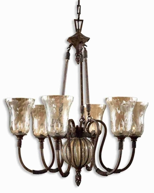 Galeana 6 Light Chandelier With Hand Made Glass and Iron Brand Uttermost