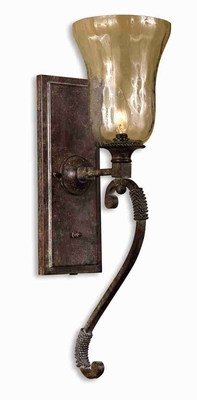 Galeana Glass Wall Sconce With Iron and Open Weave Rope Brand Uttermost