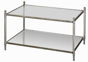 Gannon Coffee Table with Silver Leaf Mirrored Glass Brand Uttermost