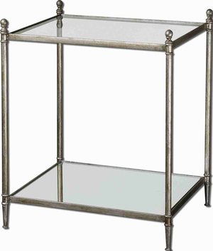 Gannon Mirrored Glass Accent Table With Antique Silver Leaf Brand Uttermost