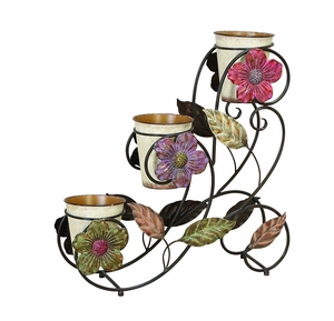 Garden in Bloom Metal Planter Stand with Daisy 3 Planters Brand Woodland