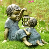 Garden Sculpture of Two Loving Brothers with the Elder Holding a Lantern by SPI-HOME