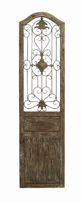 Garden Style Wooden Gate Door Plaque With Scrolling Ironwork Brand Woodland