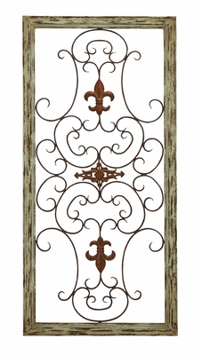 Garden Style Wooden Gate Wall Plaque With Scrolling Fleur-de-Lis Brand Woodland