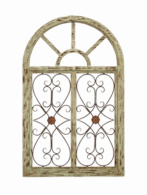 Garden Style Wooden Gate Wall Plaque With Scrolling Ironwork Brand Woodland