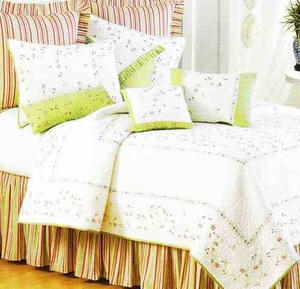 Garden Trellis Embroidered Cotton Quilt Luxury King  Bedding Ensembles Brand C&F