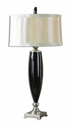 Garvey Black Glass Table Lamp with Bronze Detailing Brand Uttermost