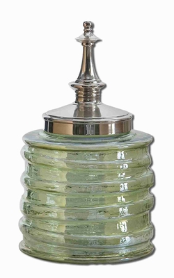Gena Style Decorative Bottle Decor In Ribbed Transparent Green Brand Uttermost