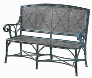 Generosa Forged Bench With Turquoise Crackle Forged Iron Brand Uttermost