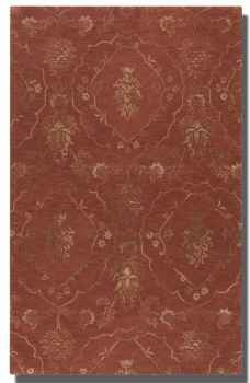 Geneva Crimson 5' Rug with Weathered Olive Taupe Details Brand Uttermost