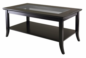 Genoa Rectangular Coffee Table with Glass top and Shelf by Winsome Woods