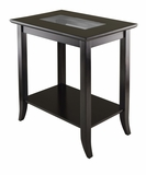 Genoa Rectangular End Table With Glass Top and shelf by Winsome Woods