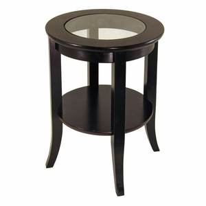 Winsome Wood Genoa Round Wooden End Table with Glass Top and Shelf