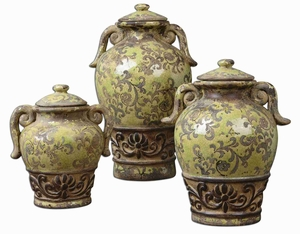 Gian Style Containers In Crackled Green Ceramic Brand Uttermost