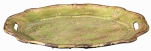 Gian Style Tray With Crackled Green Ceramic Etching Brand Uttermost