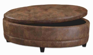 Gideon Oval Time-Worn Ottoman In Natural Tan Leather Brand Uttermost