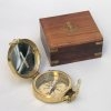 Gift New Brass Clinometer Compass  In Nautical Wood Box Brand IOTC
