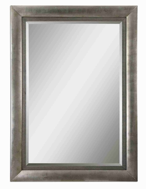 Gilford Antique Wall Mirror with All Wood Silver Leaf Frame Brand Uttermost