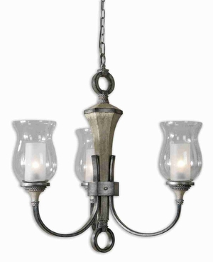 Gilman 3 Light Aged Ivory Chandelier With Silver Details Brand Uttermost