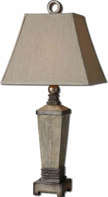 Gilman Aged Ivory Lamp with Antique Silver Detailing Brand Uttermost