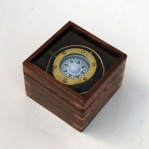 Gimball Compass in Wooden Box with Glass Top by IOTC