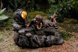 Giocoso Playful Outdoor Rock Water Fountain with Lights Brand Zest