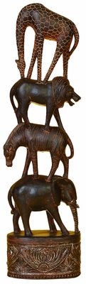 Giraffe Lion Zebra Elephant Statues Sculpture in Brown Wood Brand Woodland