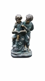Girl and Boy Reading Together Statue by Alpine Corp