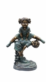 Girl Jumping Over Boy Statue by Alpine Corp