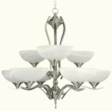 GlacierPoint Collection Fascinating Styled 9 Lights Chandelier in Satin Nickel Finish by Yosemite Home Decor