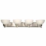 GlacierPoint Collection Fascinating Stylized 4 Lights Vanity Lighting in Satin Nickel Finish by Yosemite Home Decor