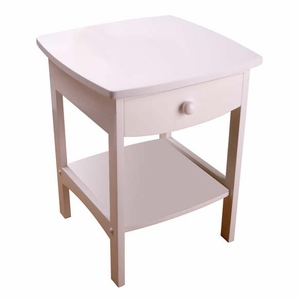 Glamorous Curved White End table/Night Stand With One Drawer by Winsome Woods