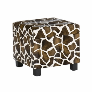 Glamorous Giraffe Print Foot Storage Stool by Southern Enterprises