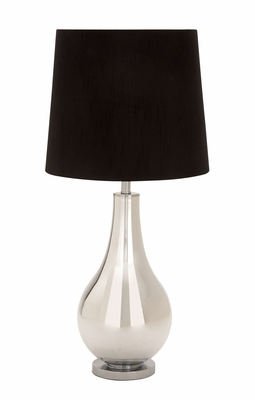 Glamorous Glass Metal Table Lamp With Black Color Shade Brand Woodland