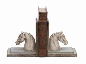 Glasgow Bookend Pair Horse Sculpted Animated Creation Brand Benzara