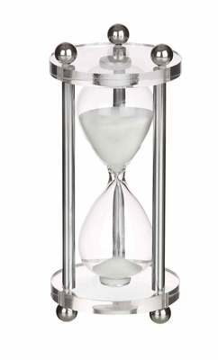 Glass Acrylic Metal Sandtimer in Silver Finish with Unique Design Brand Woodland