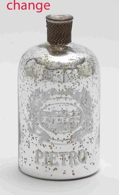 """Glass and Metal 10"""" Bottle with Striking Design for Modern Decor Brand Woodland"""