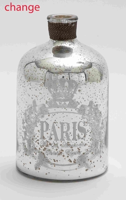 "Glass and Metal 12"" Bottle with Striking Design for Modern Decor Brand Woodland"