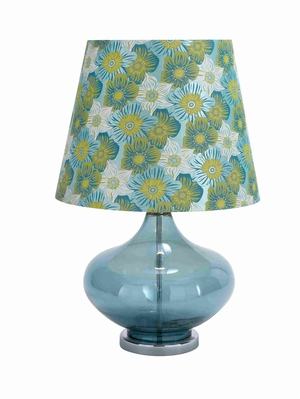 "Glass and Metal 27"" Table Lamp with Contemporary Design Brand Woodland"