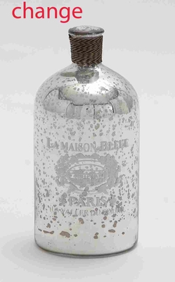 """Glass and Metal 9"""" Bottle with Striking Design for Modern Decor Brand Woodland"""