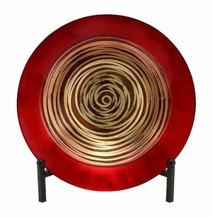Glass Bowl Metal Easel with Artistic Detailing in Red and Beige Brand Woodland