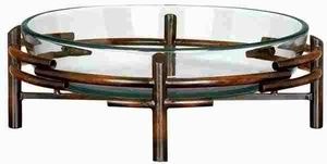 Glass Bowl Metal Stand with Circular Design in Rustic Brown Brand Woodland