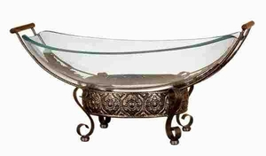 Glass Bowl Metal Stand with Fine Detailing in Bronze Finish Brand Woodland