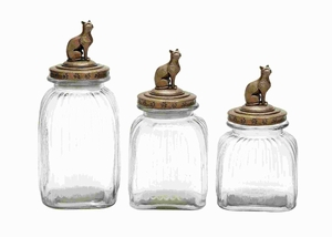 Glass Canister Elegant Finish with Cat Design on Top (Set of 3) Brand Woodland