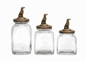 Glass Canister Elegant Finish with Dog Figure on Lid (Set of 3) Brand Woodland