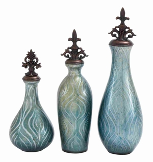 Polished Stone GlassDecorative Jar in Solid Blue (Set of 3) - 39914 by Benzara