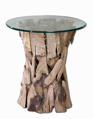 Glass Top Lamp Table Sculpted From Unfinished Teak Root Brand Uttermost