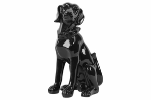 Gleaming Ceramic Sitting Dog Black