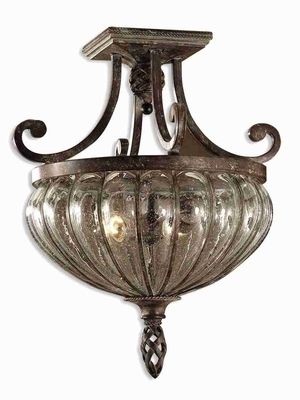 Gleana 2 Light Flush Mount With Iron and Open Rope Weave Brand Uttermost