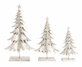 """Glittering Metal Xmas Tree w/ Golden Sparkles Set of 3 36"""", 29"""", 23""""H by Woodland Import"""